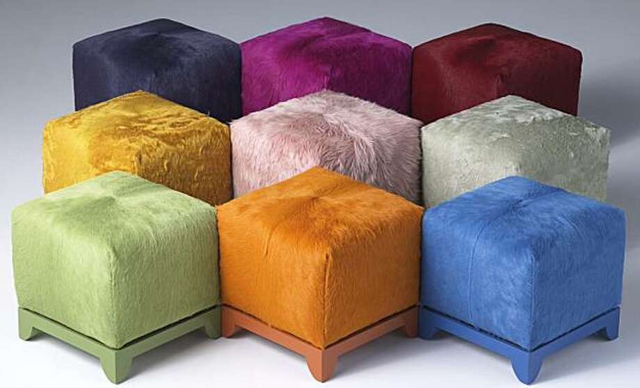 Kyle Bunting's hide-covered ottomans. Photo: Courtesy Kyle Bunting