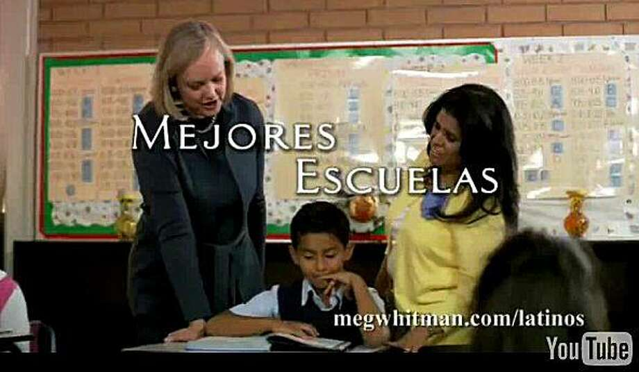 California Republican gubernatorail candidate Meg Whitman has created a Spanish-language commercial to be played during the Mexico-France World Cup, Thursday June 17, 2010, on her website. Along with the new commercials she also did a long interview on Univision on issues ranging from water to soccer. Photo: Megwhitman.com