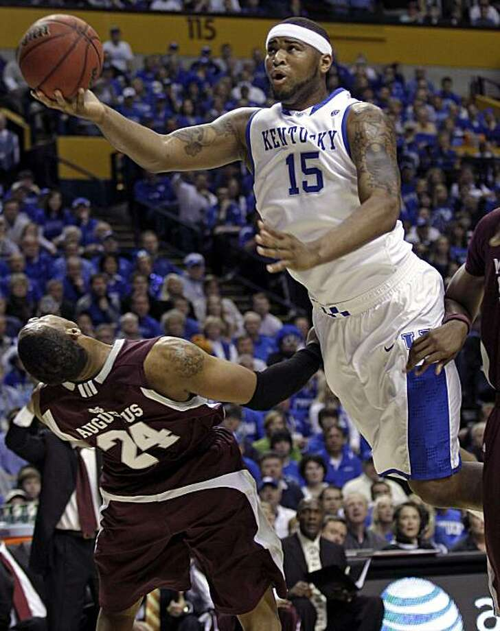 FILE - This March 14, 2010, file photo shows Kentucky forward DeMarcus Cousins (15) driving against Mississippi State's Kodi Augustus (24) in the first half of the championship game at the NCAA college basketball Southeastern Conference tournament, in Nashville, Tenn. Cousins is expected to the taken in the first round of the 2010 NBA Draft. Photo: Dave Martin, AP