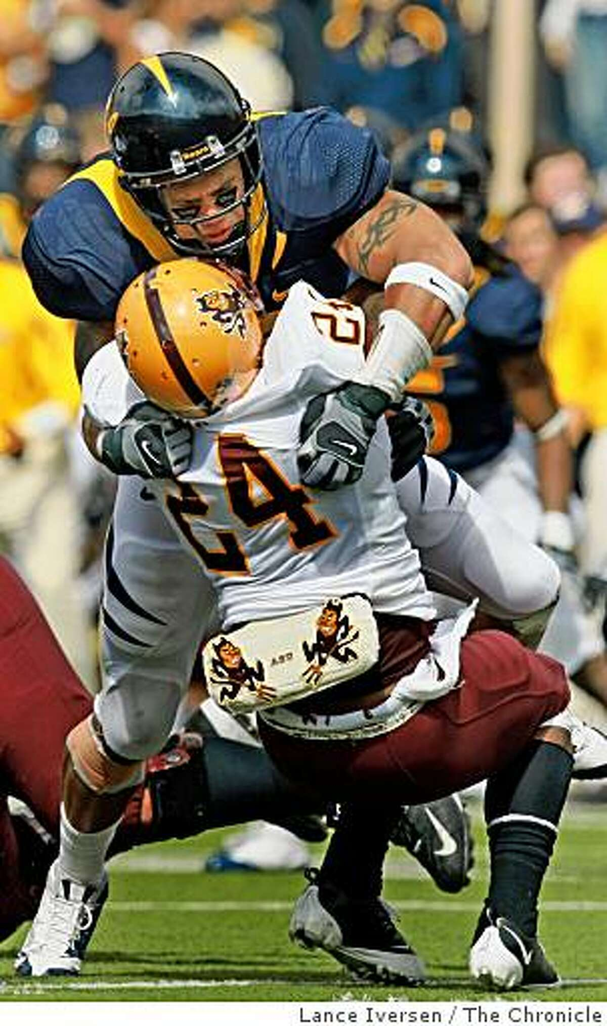 California Linebacker Anthony Felder makes a stop on Arizona State Tailback Keegan Herring for no gain during the first half of NCAA football action in Berkeley, Calif. Saturday, Oct. 4, 2008 Cal defeated ASU 24-14