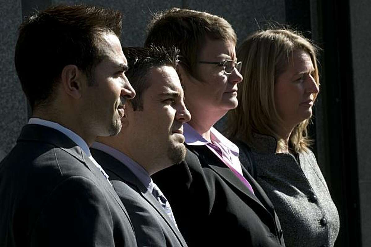 From left to right Paul Katami, Jeff Zarrillo, Kristin Perry and Sandy Stier stand before the media prior to entering the Phillip Burton Federal Building to attend the closing arguments in the Proposition 8 case on Wednesday, June 16, 2010 in San Francisco, Calif.