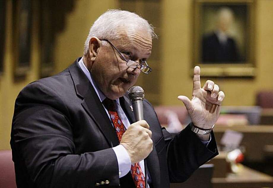 This April 19, 2010 file photo shows Arizona state Sen. Russell Pearce, R-Mesa, making a point during a vote on SB1070 , a new immigration bill, in Phoenix. With the passage of the nation's toughest law against illegal immigration, Pearce now wants Arizona to deny U.S. citizenship to babies born to undocumented parents. Photo: Ross D. Franklin, AP