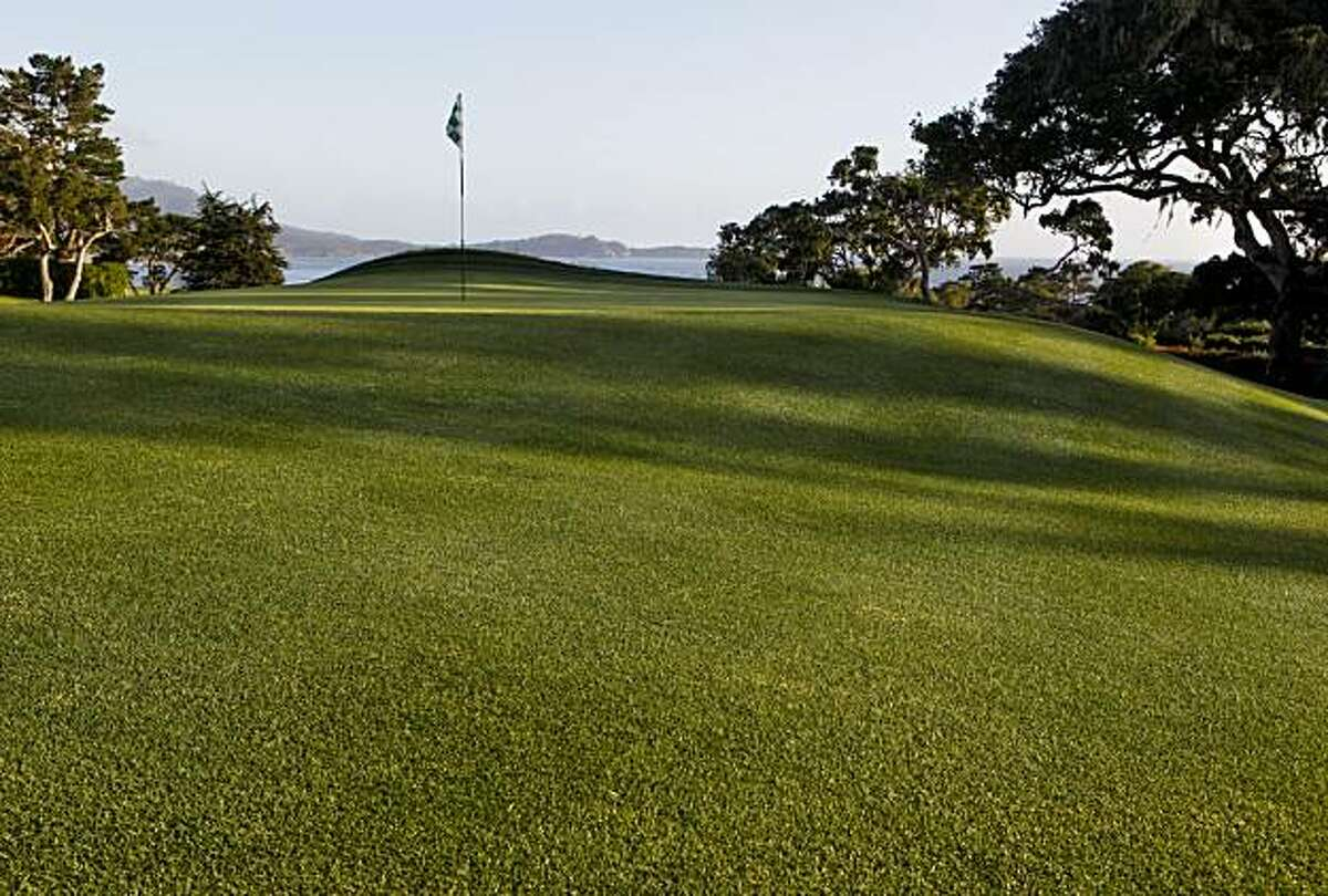 The dramatic sloping green of the par-5 14th hole at the Pebble Beach Golf Links on Monday May 10, 2010, in Pebble Beach, Calif.