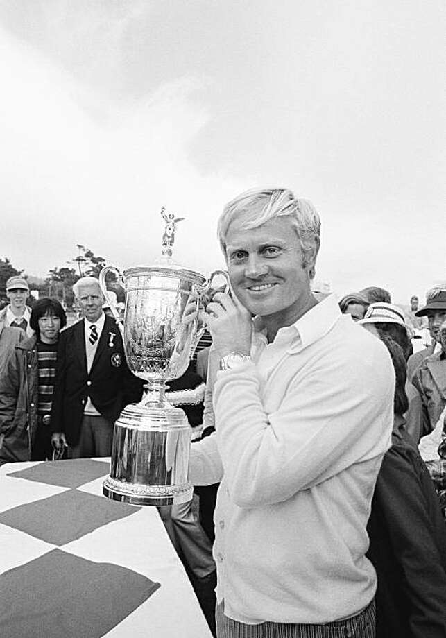 Jack Nicklaus holds the trophy emblematic of his victory in the U.S. Open golf tournament at Pebble Beach, Calif., June 18, 1972, where he won the second leg of his goal of capturing professional golf's grand slam. Now the winner of the Masters and the U.S. Open, Nicklaus must win the British Open and American PGA to complete the slam. (AP Photo) Photo: Anonymous, AP 1972