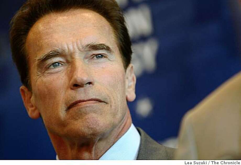 Governor Arnold Schwarzenegger speaks at a press conference after touring of the Lawrence Livermore National Laboratory's National Ignition Facility on Monday, November 10, 2008 in Livermore, Calif. Photo: Lea Suzuki, The Chronicle