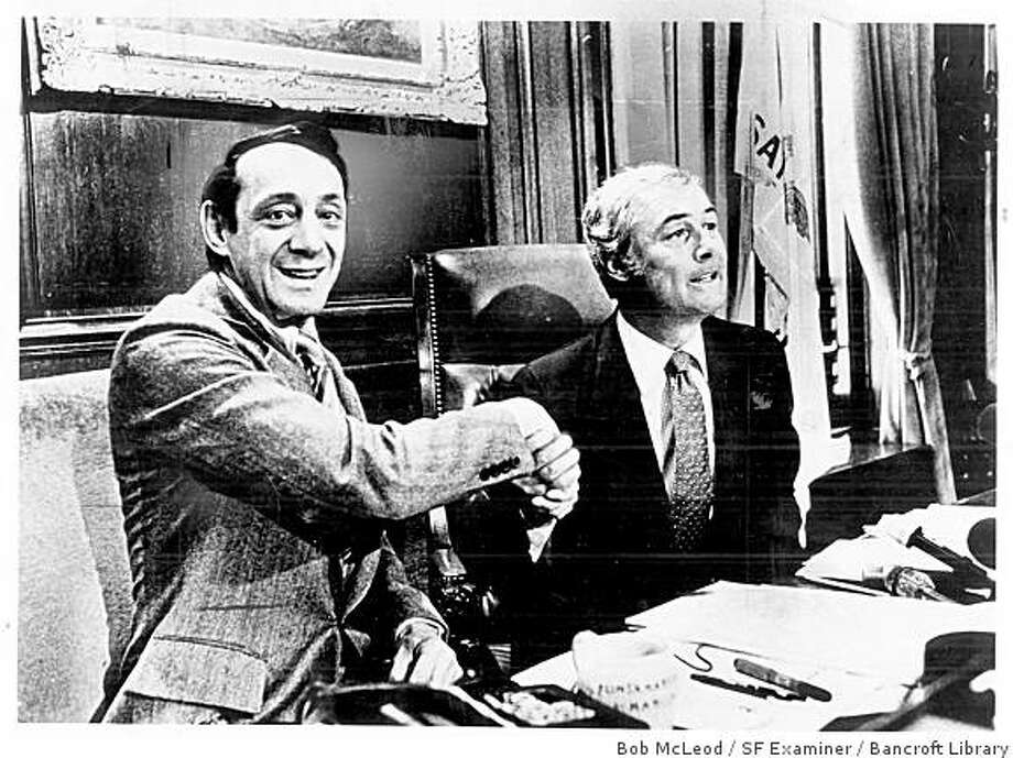 George Moscone and Harvey Milk. Photo: Bob McLeod, SF Examiner / Bancroft Library