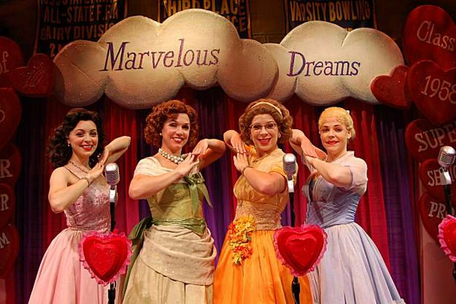 "Cindy Lou (Christina DeCicco, left), Betty Jean (Holly Davis), Missy (Lowe Taylor) and Suzy (Bets Malone)  performing as the title girl group in ""The Marvelous Wonderettes"" Photo: Courtesy Of San Jose Rep"