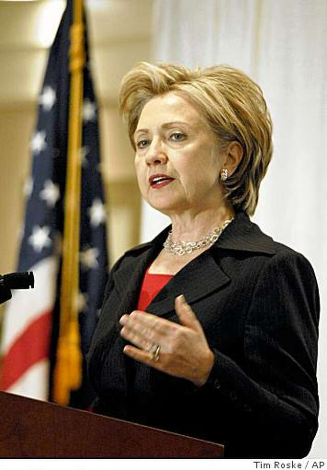 Sen. Hillary Rodham Clinton, D-N.Y., speaks at a New York Public Transit Association conference in Albany on Friday, Nov. 14, 2008.   Clinton said she would not comment on speculation that she may be selected to become President-elect Barack Obama's secretary of state..  (AP Photo/Tim Roske) Photo: Tim Roske, AP