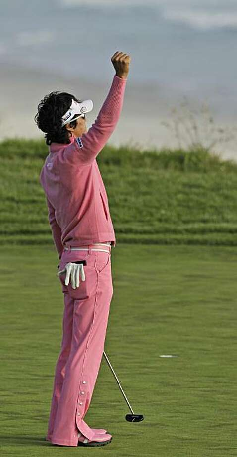 Ryo Ishikawa of Japan reacts after making a birdie putt during the first round of the U.S. Open golf tournament Thursday, June 17, 2010, at the Pebble Beach Golf Links in Pebble Beach, Calif. Photo: Charlie Riedel, AP