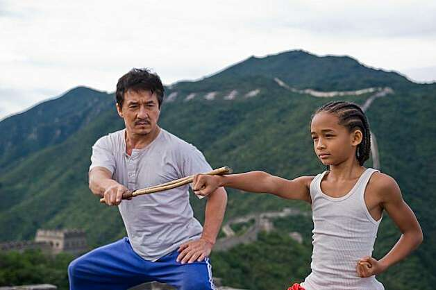 "Jackie Chan as ""Mr. Han"" with Jaden Smith as ""Dre Parker"" in Columbia Pictures' THE KARATE KID. Photo: Jasin Boland, CTMG"