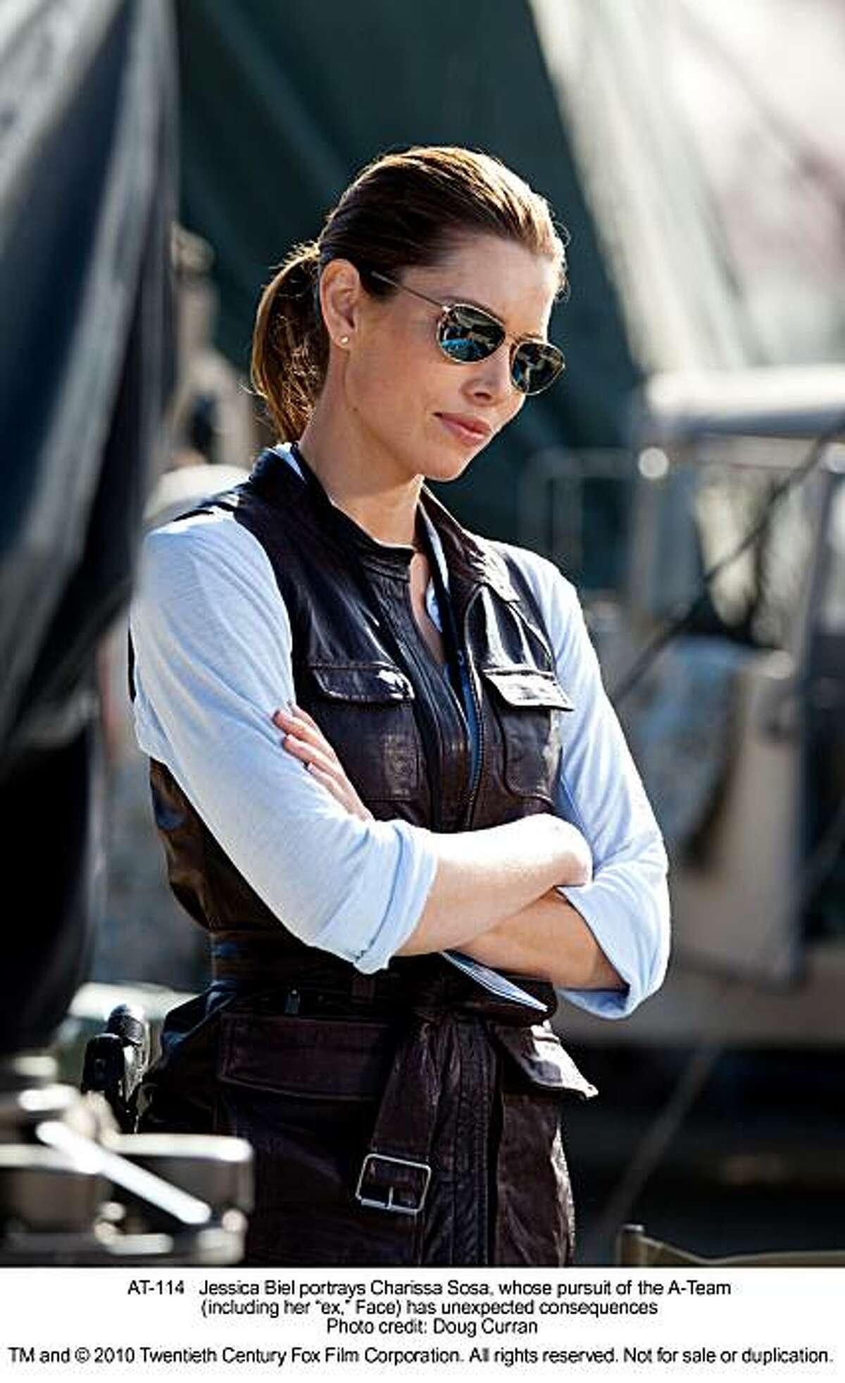 Jessica Biel portrays Charissa Sosa, whose pursuit of the A-Team (including her ?'ex,?