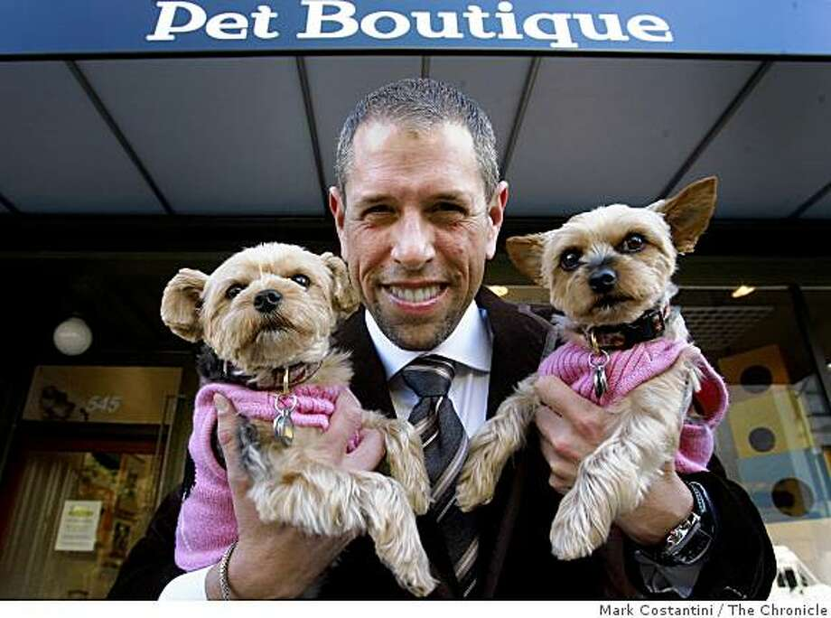 Andrew Freeman and his dogs pose at Best in Show in San Francisco, Calif. on Monday, October 21, 2008. Photo: Mark Costantini, The Chronicle