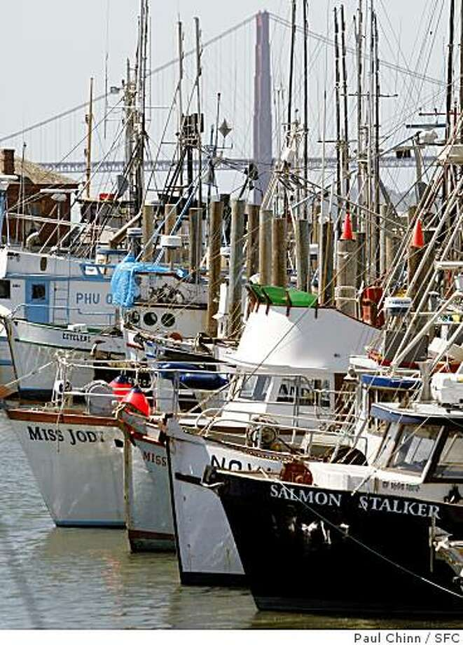 The Salmon Stalker and the rest of the salmon fishing fleet remain in port at Fisherman's Wharf in San Francisco, Calif., on Thursday, April 10, 2008. The Pacific Fishery Management Council is deciding whether or not to cancel or severely limit this year's salmon season.Photo by Paul Chinn / San Francisco Chronicle Photo: Paul Chinn, SFC