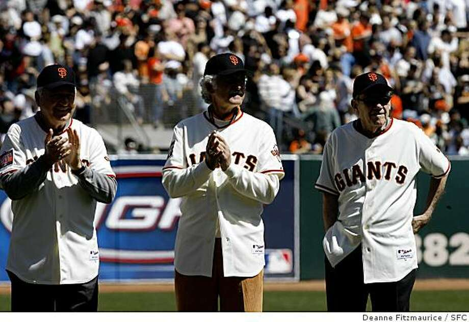 Jon Antonelli, Mike McCormick, and Stu Miller stand during the All-Star Salute. 2007 Giants Opening Day at AT&T Park Street in San Francisco on Tuesday, April 03, 2007. Photo: Deanne Fitzmaurice, SFC