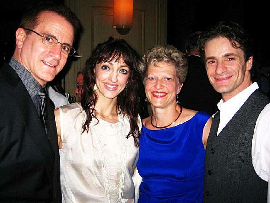 Val Caniparoli (left) with Lorena Feijoo, Carey Perloff and Pascal Molat at Tosca Project opener. June 2010. Photo: Catherine Bigelow, Special To The Chronicle