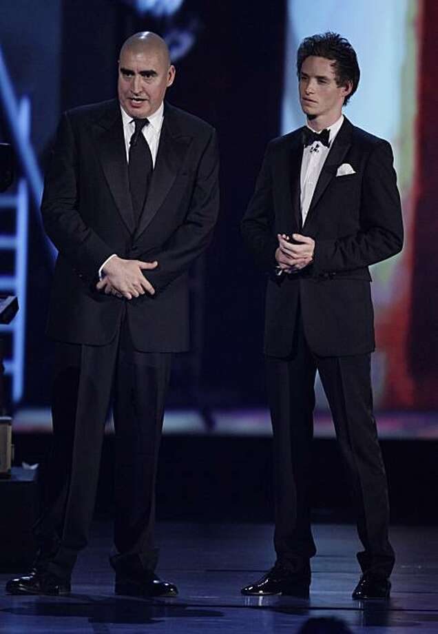 "Actors Alfred Molina, left, and Eddie Redmayne of the Broadway play ""Red"" appear on stage at the 61st Annual Tony Awards in New York, Sunday, June 13, 2010. ""Red"" won the award for Best Play. Photo: Richard Drew, AP"