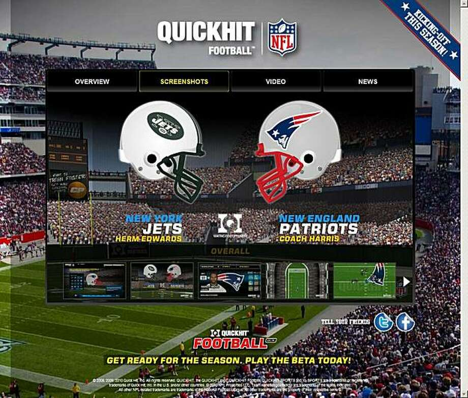 """A view of Quick Hit Inc.'s """"QUICKHIT Football"""" online game is seen in this screengrab taken on Thursday, June 10, 2010, The National Football League (NFL) has reached a licensing deal with online game company Quick Hit Inc., bolstering a rival to Electronic Arts Inc.'s """"Madden NFL"""". Source Quick Hit Inc. via Bloomberg EDITOR'S NOTE: EDITORIAL USE ONLY. NO SALES. Photo: Via Bloomberg"""