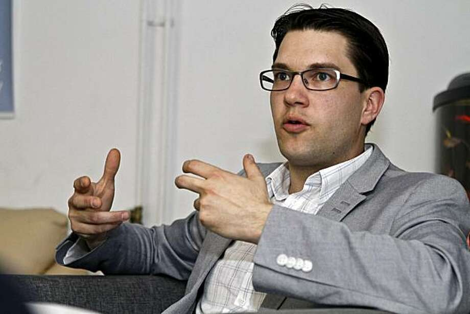 """** ADVANCE FOR SUNDAY, JUNE 6 ** In this photo taken  May 24, 2010, Sweden Democrats party leader Jimmie Akesson speaks during an interview in a basement in Stockholm, Sweden.  Akesson said """"In Sweden, if you voice criticism against the immigration policy, you are viewed as a racist or xenophobe."""" Photo: Niklas Larsson, AP"""