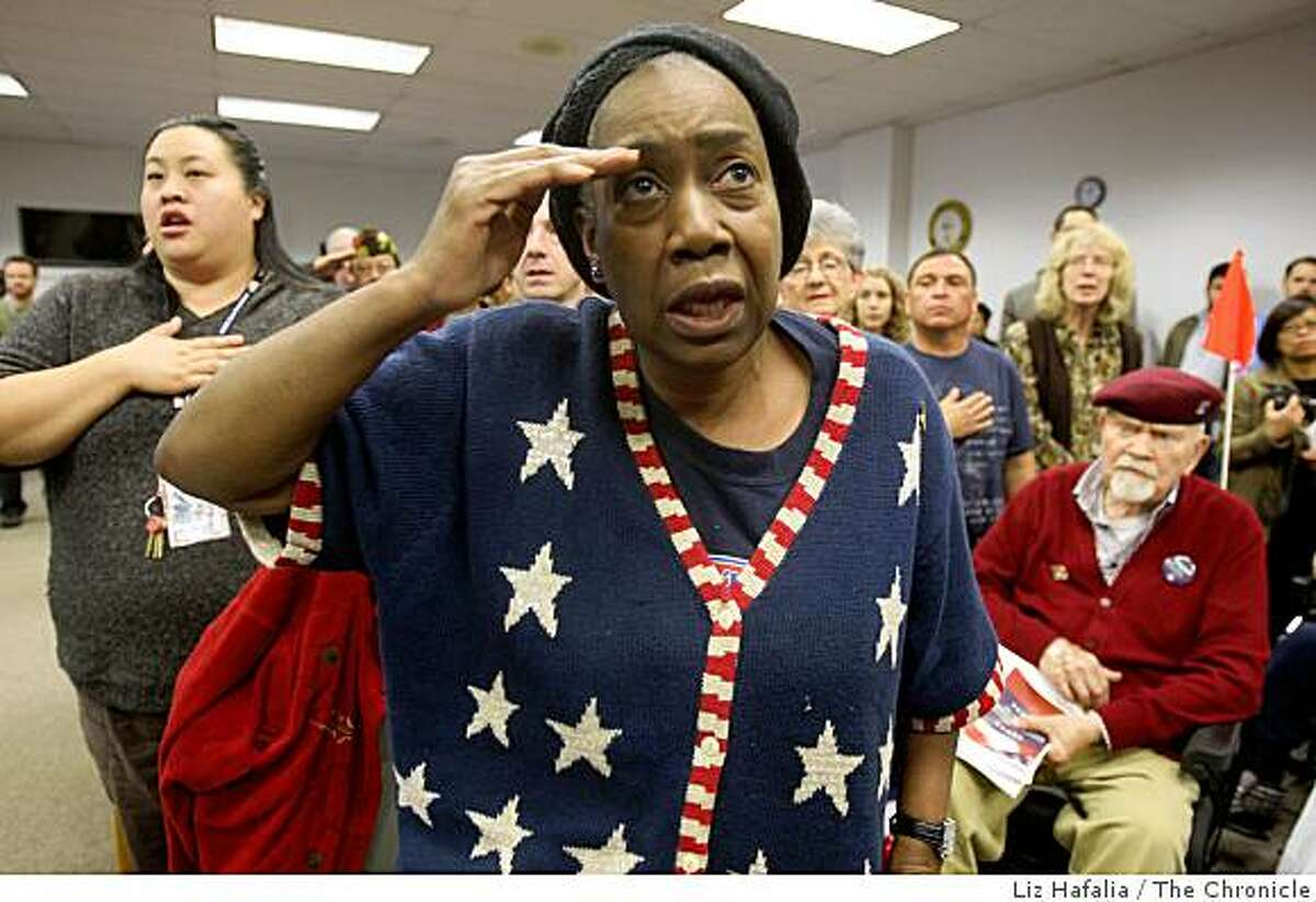 Beverly Wright, who was a corpsman during the Vietnam War during the pledge of allegiance attending a veterans day celebration at the SF Veteran Medical Center in San Francisco, Ca., on Monday, November 10, 2008.