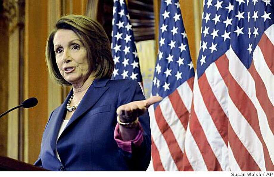 House Speaker Nancy Pelosi of Calif. gestures during a news conference on Capitol Hill in Washington, Wednesday, Nov. 5, 2008, to discuss Tuesday's presidential election. (AP Photo/Susan Walsh) Photo: Susan Walsh, AP