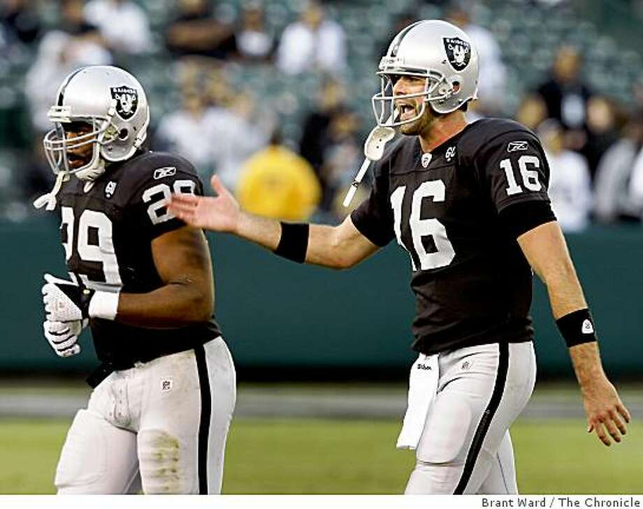 Raider quarterback Andrew Walter was yelling in frustration as he walked off the field after their final possession. Oakland Raiders vs Carolina Panthers Sunday November 9, 2008 The Raiders lost 17-6. Photo: Brant Ward, The Chronicle