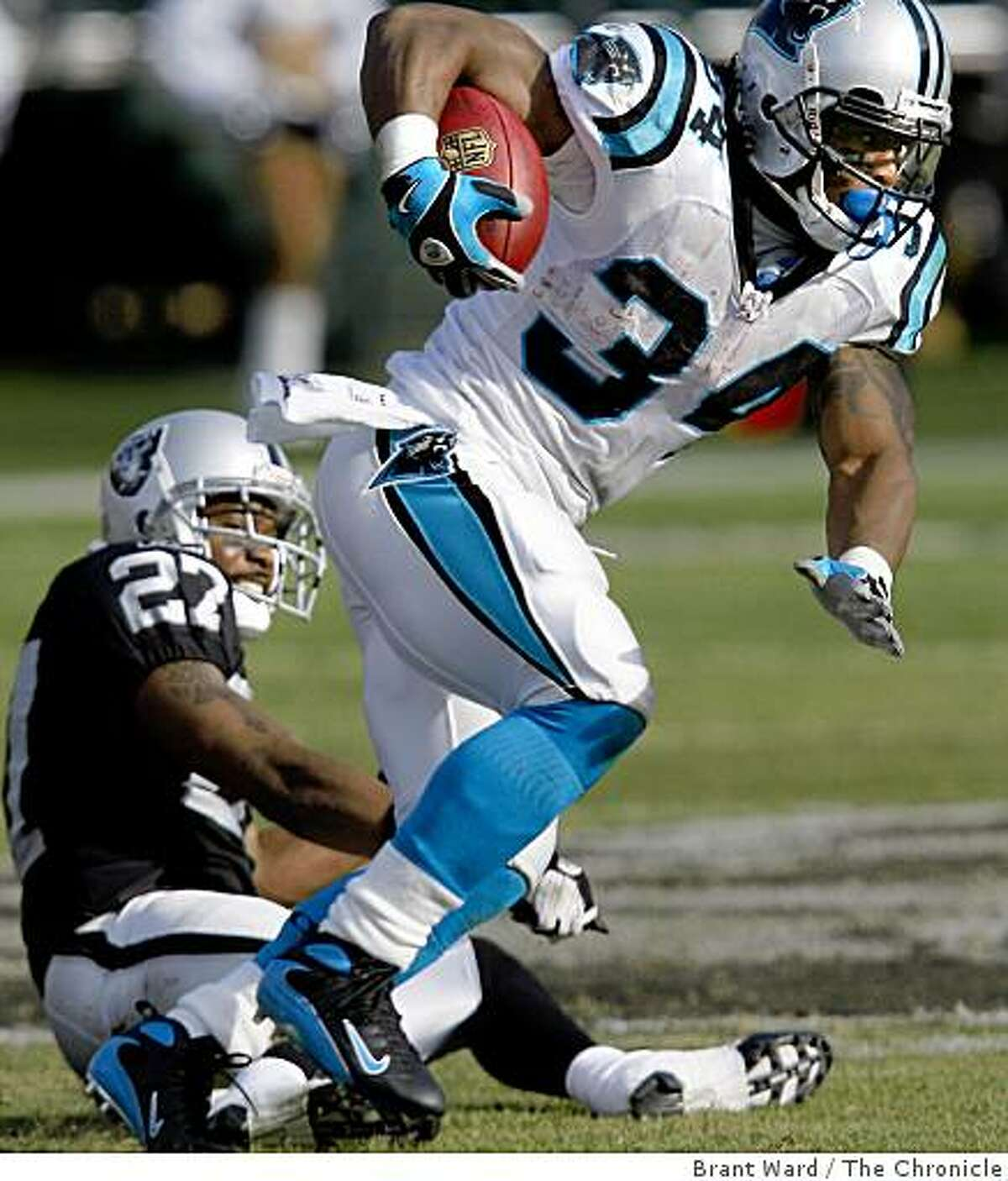 The Panthers DeAngelo Williams broke a tackle by Rashad Baker late in the first half and went for a touchdown. Oakland Raiders vs Carolina Panthers Sunday November 9, 2008 The Raiders lost 17-6.
