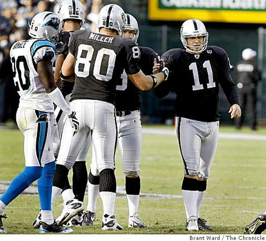 Sebastian Janikowski is congratulated by teammates after his second half field goal made him the most prolific scorer in Oakland Raider history. Oakland Raiders vs Carolina Panthers Sunday November 9, 2008 The Raiders lost 17-6. Photo: Brant Ward, The Chronicle