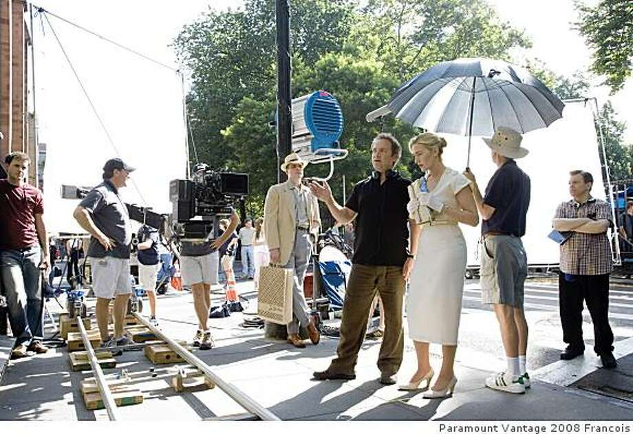 """Director Sam Mendes and his wife, actress Kate Winslet, on the set of """"Revolutionary Road."""" Photo: Paramount Vantage 2008 Francois"""