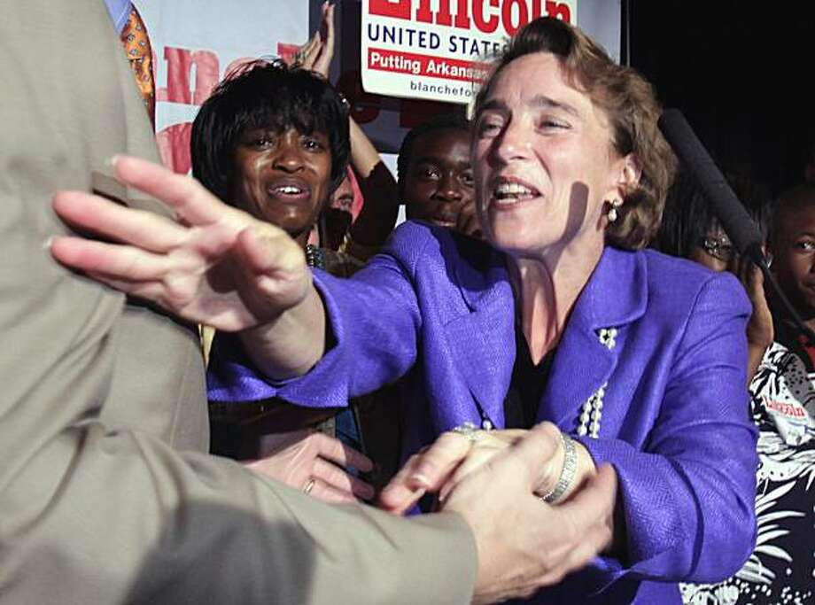 Sen. Blanche Lincoln, D-Ark., waves to a supporter after winning the Democratic primary runoff election in Little Rock, Ark., Tuesday, June 8, 2010. Photo: Danny Johnston, AP