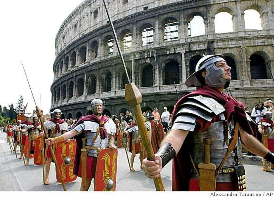 Ever wonder how a gladiator fight looked like from the front row of the Colosseum? ?Rewind Rome,? a 3-D simulation presented in a theater a few steps from the ruined arena, will offer visitors the chance to experience the monuments and daily life of the ancient capital. Photo: Alessandra Tarantino, AP