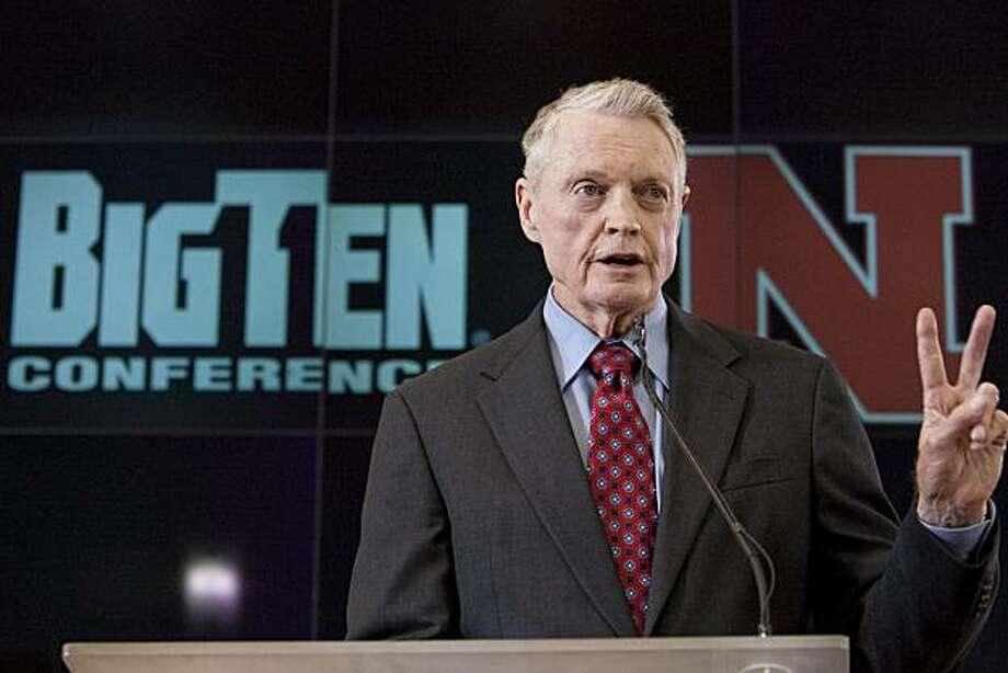 Nebraska's athletic director Tom Osborne speaks to the press in front of a Big Ten conference background in Lincoln, Neb., Friday, June 11, 2010. Nebraska made it official Friday and applied for membership in the Big Ten Conference, a potentially crippling blow to the Big 12 and the biggest move yet in an off season overhaul that will leave college sports looking much different by this time next year. Photo: Nati Harnik, AP