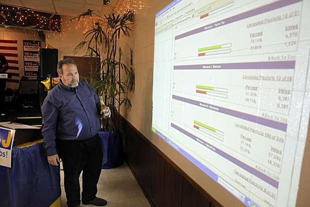 Santa Clara Vice Mayor Jamie L. Matthews checks Measure J election results at the American Legion Hall in Santa Clara on Tuesday. Photo: Carlos Avila Gonzalez, The Chronicle