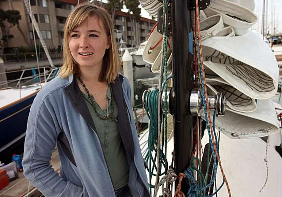 "In this January 12, 2010 photograph, Abby Sunderland, 16, prepares to sail her 40-foot sail boat ""Wild Eyes"" in the Pacific Ocean out of Marina Del Rey for a sea trial to get the ship tuned and ready as she plans to set sail on a non-stop unassisted global circumnavigation voyage. Now, an ocean search is under way after emergency beacons were set off by Abby, who is trying to become the young person to sail around the world. According to her family, Abby sailed into a storm in the southern Indian Ocean on Thursday, and lost contact with them. (Al Seib/Los Angeles Times/MCT) Photo: Al Seib, MCT"