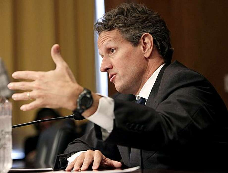 US Treasury Secretary Timothy Geithner testifies before the Senate Finance Committee hearing on US China relationship on Capitol Hill in Washington, DC June 10, 2010. China's refusal to revalue its currency is impeding global economic reforms, US TreasurySecretary Timothy Geithner said Thursday amid pressure from Congress to impose sanctions on the Asian giant. Photo: Yuri Gripas, AFP/Getty Images