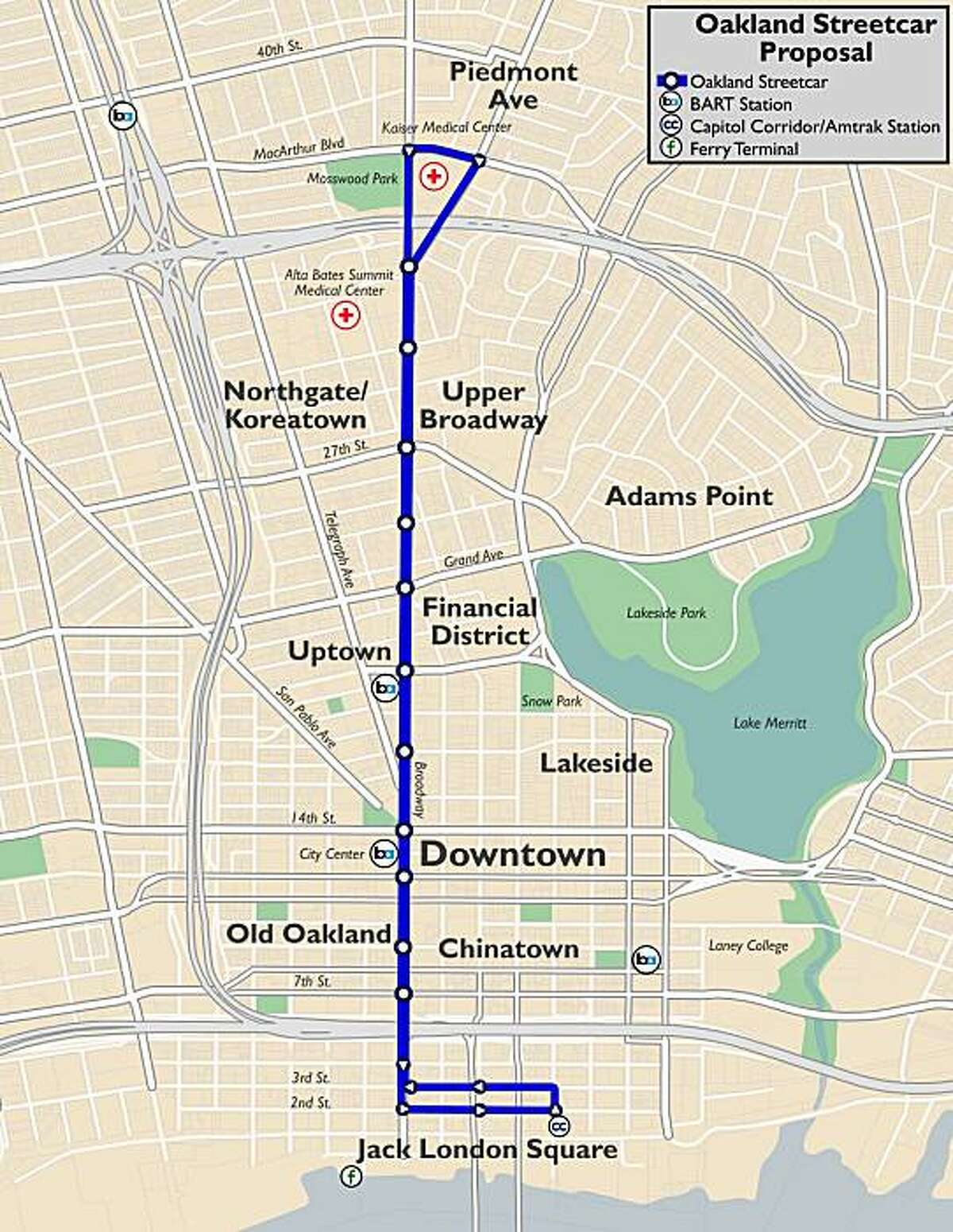 This map shows a streetcar line in Oakland proposed by Stanford University undergraduate student Daniel Jacobson