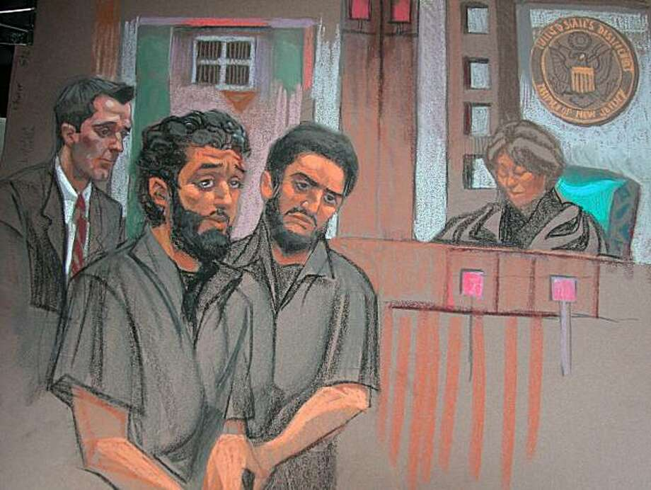 This courtroom drawing shows Mohamed Alessa, 20, and Carlos Almonte, 24, who appeared in US District Court in chains on June 7, 2010 in Newark, New Jersey, to be charged with conspiracy to kill US troops abroad in what has been described by officials as the nation's latest terror probe. The tall, bearded men appeared before Judge Madeline Cox Arleo (R) who read them their rights. The charges carry a maximum term of life imprisonment and the prosecutors urged the court to return the men to jail pending trial, saying they represented a flight risk and a danger to the community. The judge ordered them held until June 10 for a scheduled bail hearing. Photo: Christine Cornell, AFP/Getty Images