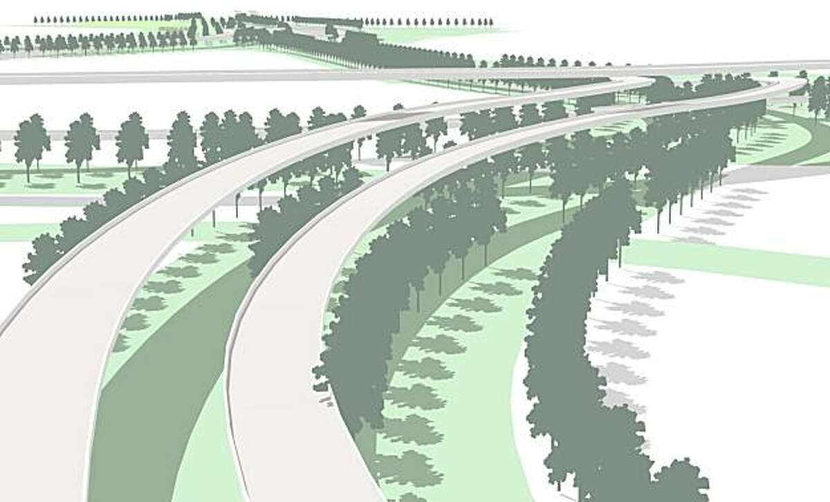 All three of the design concepts for a Gateway Park at the foot of the Bay Bridge emphasize the need to connect the space to Oakland and Emeryville -- include by using stands of tall trees threading the approach roads and the maze. This image illustrates that principle in the approach by Perkins + Will and PWP Landscape Architecture, rather than a specific design