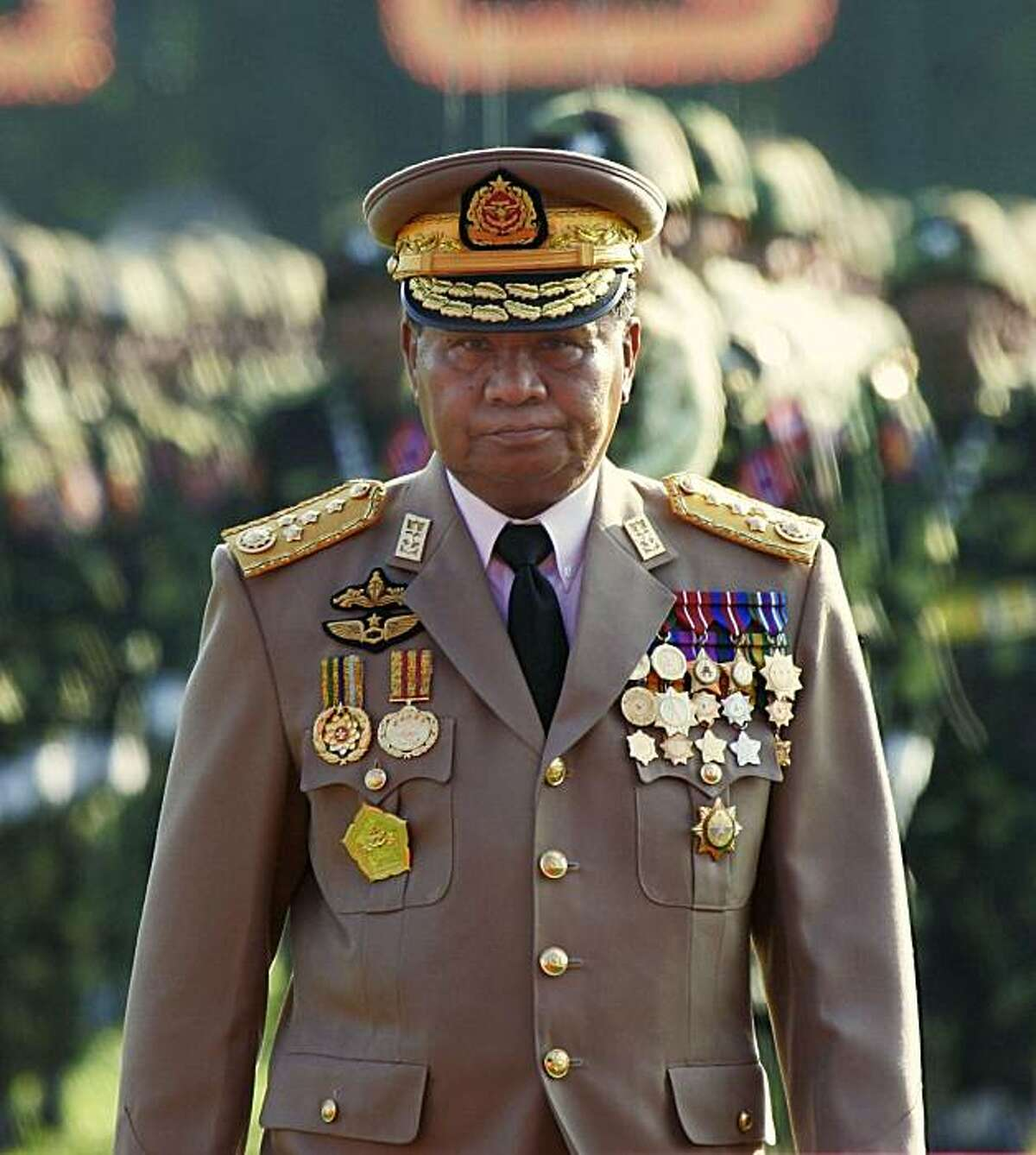 Myanmar junta leader Sen. Gen. Than Shwe attends Armed Forces Day ceremonies in Yangon, in this March 27, 2005, file photo. x