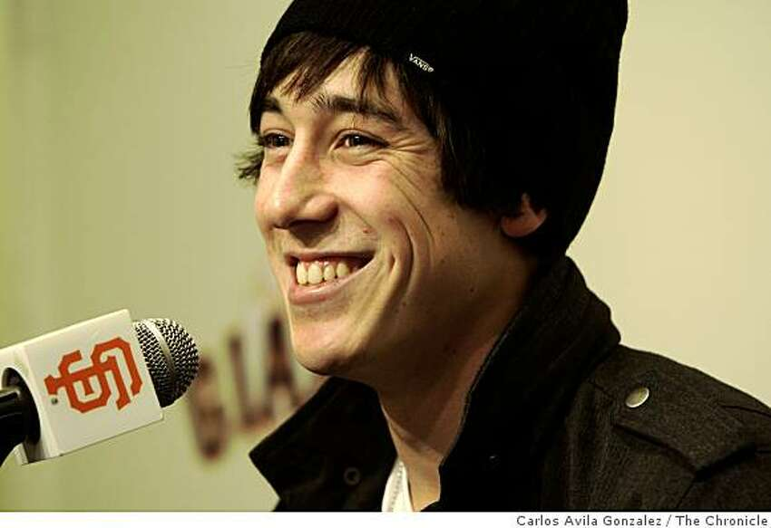 Cy Young award winner Tim Lincecum appears at news conference after the announcement that he'd been named the top pitcher in the National League at AT&T Park in San Francisco, Calif., on Tuesday, November 11, 2008.