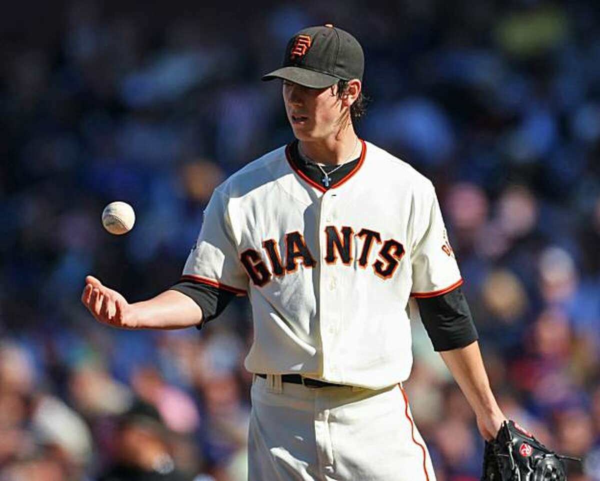 Giants pitcher Tim Lincecum pitches against the Chicago Cubs Thursday July 3, 2008, in San Francisco, Calif.