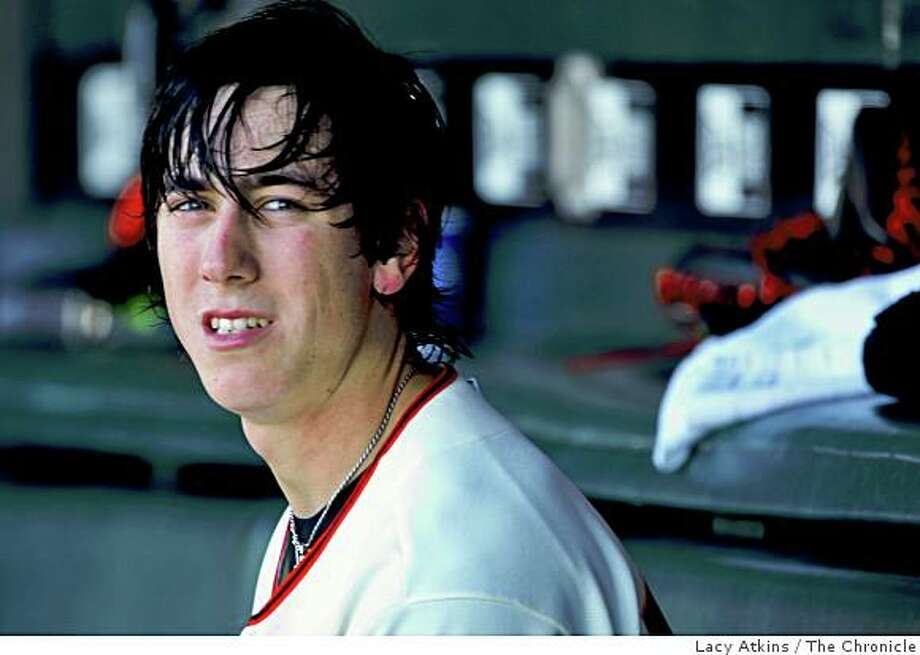 Giants pitcher Tim Lincecum in the dugout when pitching  against the Chicago Cubs Thursday July 3, 2008, in San Francisco, Calif.Photo by Lacy Atkins /The Chronicle Photo: Lacy Atkins, The Chronicle