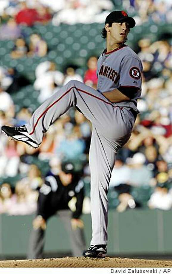 San Francisco Giants starting pitcher Tim Lincecum delivers to the Colorado Rockies in the first inning of an MLB baseball game in Denver on Wednesday, June 11, 2008. (AP Photo/David Zalubowski) Photo: David Zalubowski, AP