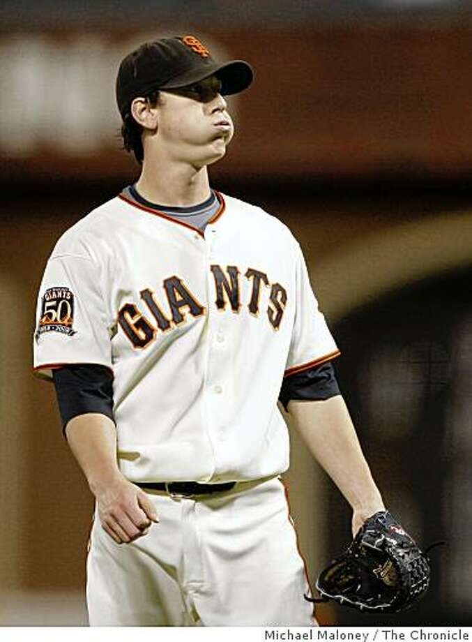 San Francisco Giants starting pitcher Tim Lincecum reacts during a tough 3rd inning against the Colorado Rockies at AT&T Park in San Francisco, Calif., on Sept. 23, 2008. Photo: Michael Maloney, The Chronicle