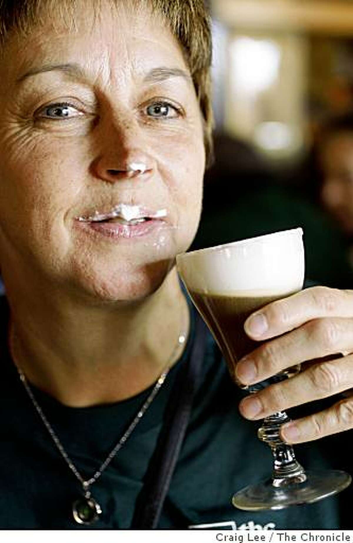 The Buena Vista Cafe celebrating the Irish coffee cocktail's anniversary by making the world's biggest Irish coffee drink, attempting to make it in the Guinness World Records book, in San Francisco, Calif., on November 11, 2008. Mary Metcalf from San Mateo, with a cream mustache, atfer drinking the Irish coffee.