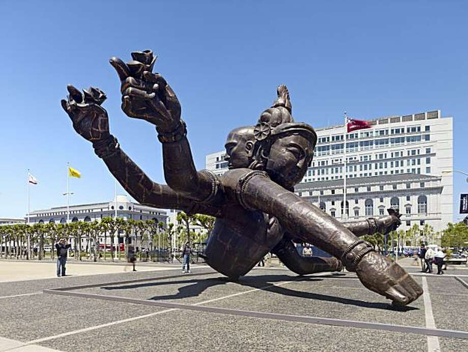 Three Heads Six Arms (2008)  Copper Sculpture by Zhang Huan. Photo: Bruce Damonte, SF Arts Commission