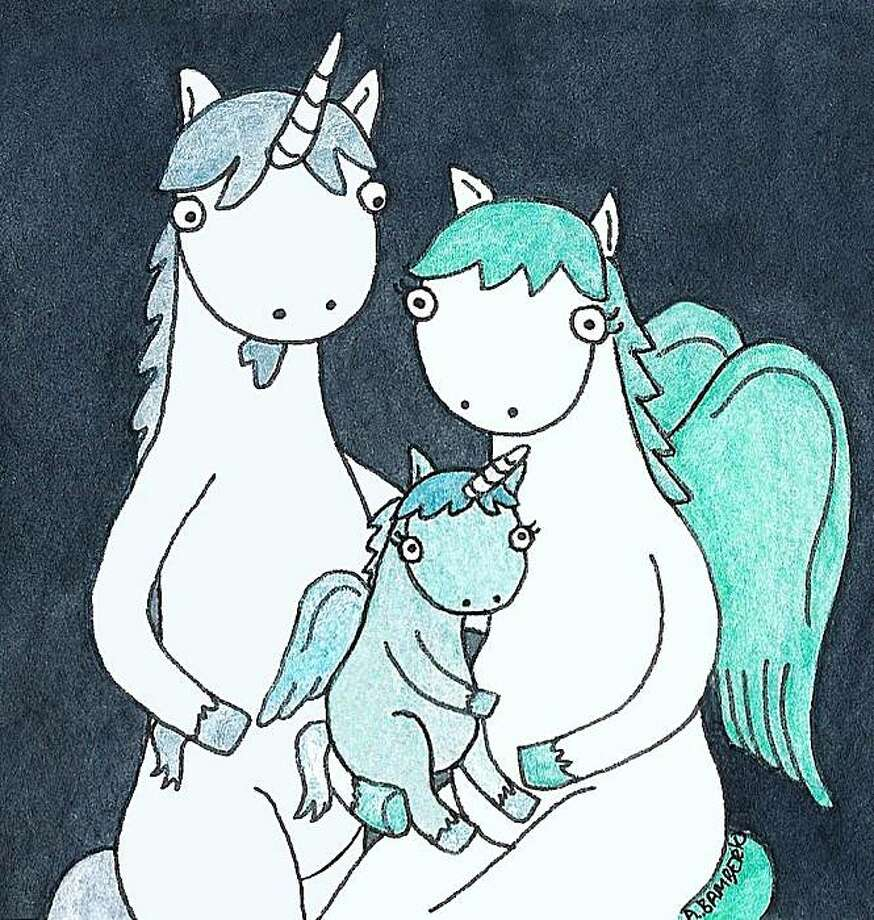 """Adrianna Bamber's unicorn family in """"Baby Pegacorn"""" is just one of the glimpses into fantasy worlds at Design Guild Studios. Photo: Design Guild Studios"""