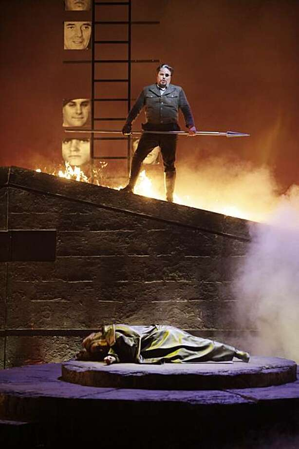 Mark Delavan as Wotan (top to bottom) and Nina Stemme as Brunnhilde perform during a final dress rehearsal of Wagner's Die Walkure at the War Memorial Opera House in San Francisco, Calif. on Sunday June 6, 2010. Photo: Lea Suzuki, The Chronicle