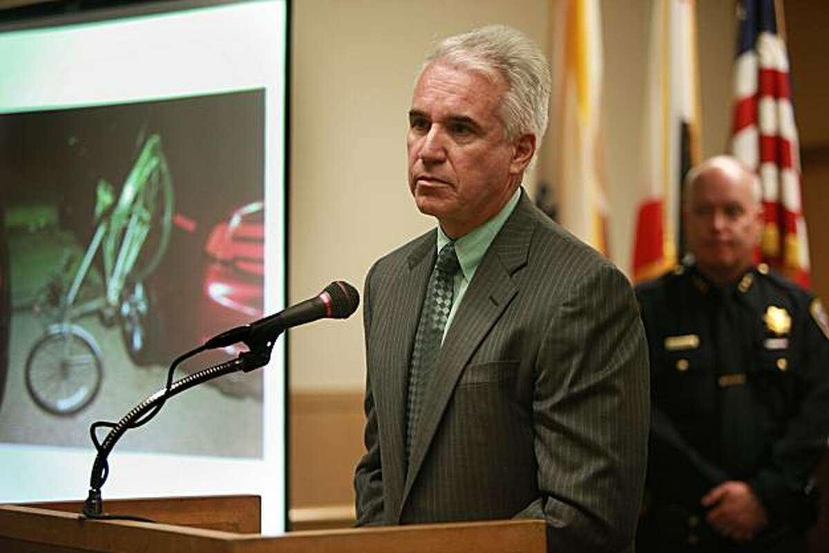 SFPD chief Gascon announces an arrest in San Francisco, Calif., at the Hall of Justice on Friday, June 4, 2010, in the Wednesday night rampage by a driver who hit four bicyclists.