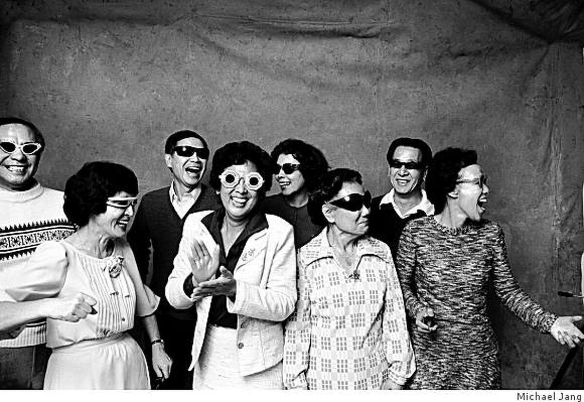 In 1973, Michael Jang photographed his aunts, uncles and grandmother (third for the right) wearing shades and dancing to Devo. It's one of Jang's family photographs on view at University High School in San Francisco.