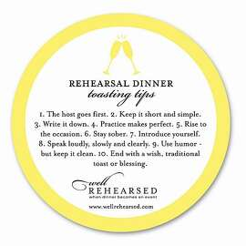 A drink coaster offers toasting tips at rehearsal dinners